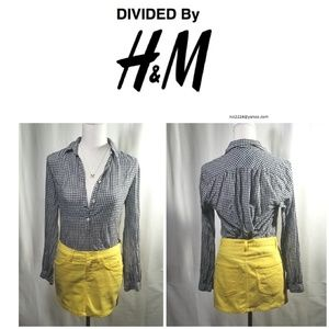 Cute Divided Cotton Yellow 5 Pocket Mini Skirt Sz6